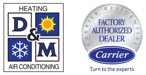 D&M Heating & Air Conditioning and Carrier Factory Authorized Dealer logos